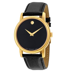 Movado Museum Black Dial Black Leather Men's Watch