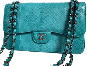 Chanel Limited Python Flap Jumbo Purse Classic Shoulder Bag