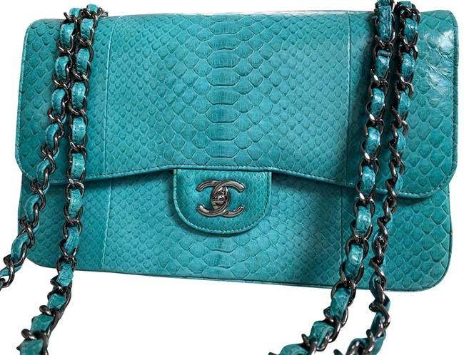 Item - Classic Flap New Most Limited Classic Double Jumbo Light Blue (Turquoise) Python Snakeskin Shoulder Bag
