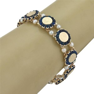 Lucien Piccard Seed Pearls & Sapphire Round Textured 14k Gold Link Bracelet