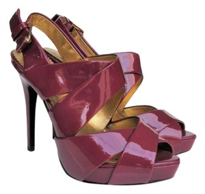 Report Signature Strappy Heeled S Patent Leather Fuchsia Pink Sandals