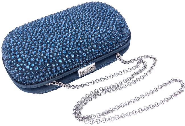 Item - Sapphire Blue Silver Suede Leather Swarovski Crystals Clutch