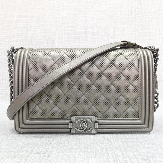 7a07c3c6cf6873 Chanel Boy Bag Medium Grey And Gold Calfskin | Stanford Center for ...