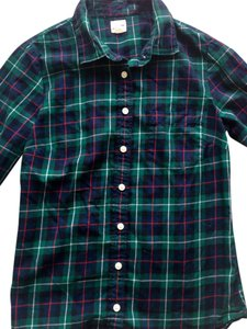 J. Crew Preppy Fall Button Down Shirt Green Flannel