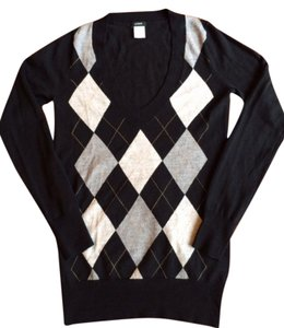 J. Crew Argyle Black Vneck Wool Sweater