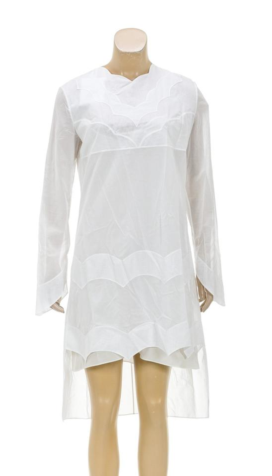 f7be3f9f69d3a Dior White Long Sleeve 40) New 206811 Short Casual Dress Size 20 ...