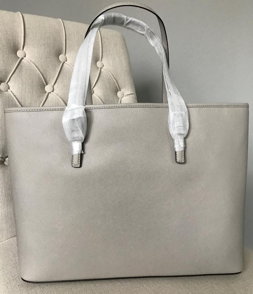 1e3007406e4c1b Michael Kors Jet Set Travel Md Tz Multifunction Cement Suede Leather Tote -  Tradesy