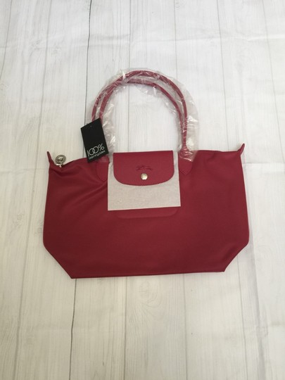 Longchamp Tote in Raspberry Pink/Silver