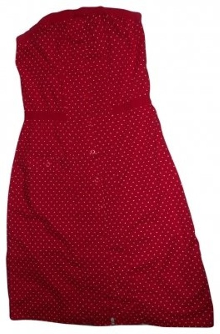 Item - Red W/White Polka Dots Knee Length Short Casual Dress Size 4 (S)