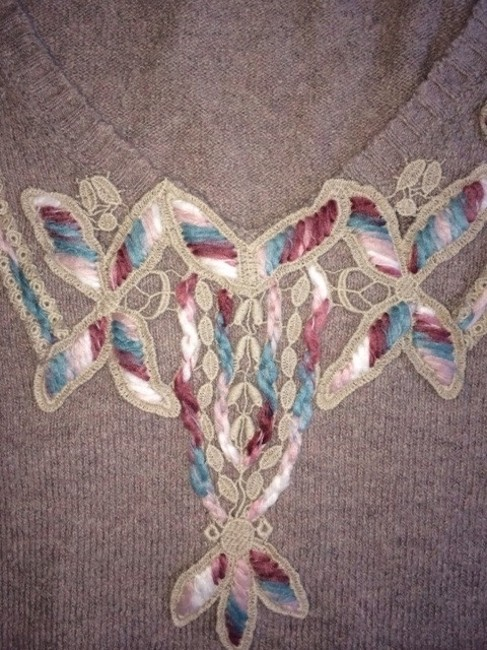 Anthropologie Embellished Embroidered Sweater