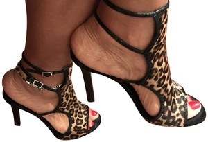 Tamara Mellon Leather Animal Print Sandals
