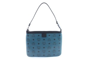 MCM Pochette Pouch Poche Neverfull Wristlet in Blue-Green x Black