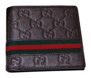 4a519540c15cf8 Gucci NWT Authentic GUCCI Signature WEB GG Brown Leather Bifold Wallet men