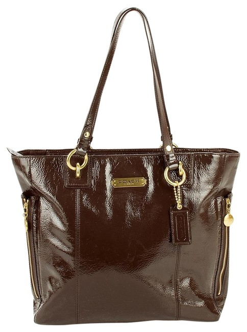 Item - Shoulder Bag F20432 Gallery North South Purse Brown Patent Leather Tote