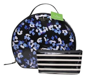 Kate Spade NEW!! 2 PC FLORAL LARGE ZIP TOP HANDLE COSMETIC MAKEUP TRAVEL CASE BAG