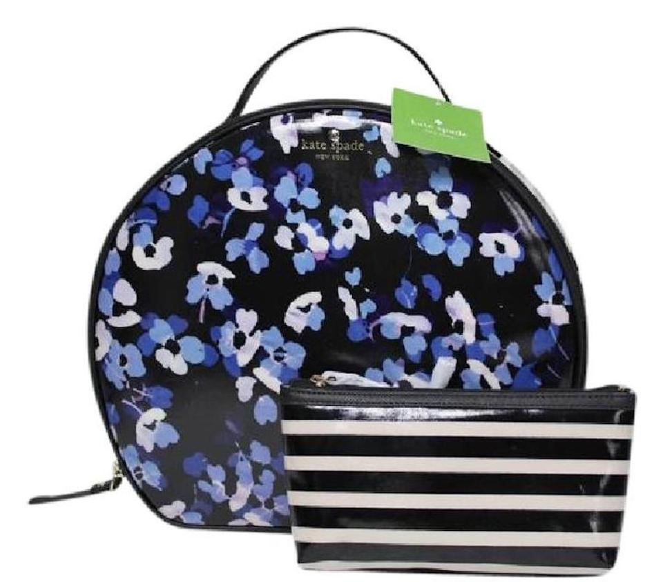 2e5f20b672ca Kate Spade Black Purple New 2 Pc Floral Large Zip Top Handle Makeup Travel Case  Cosmetic Bag