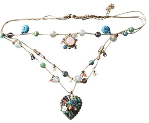 Betsey Johnson gold tone multicolor beaded necklace