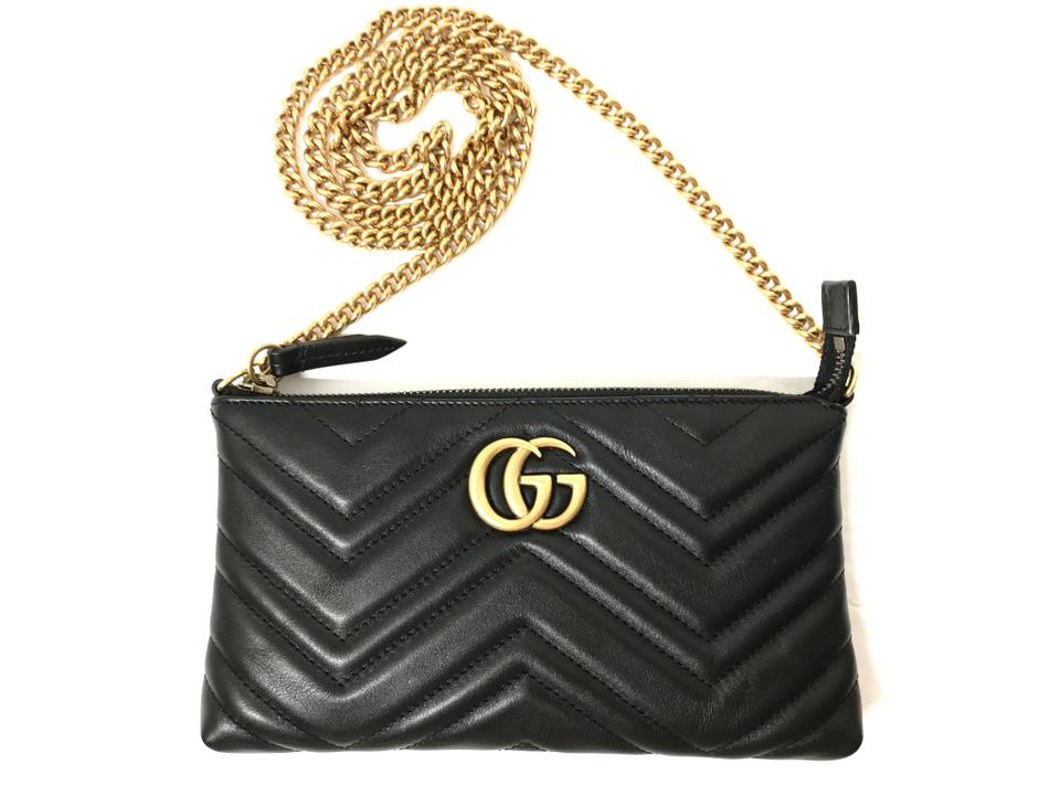 cd1dc37ee1605d Gucci Marmont Gg Mini Chain Black Leather Shoulder Bag - Tradesy