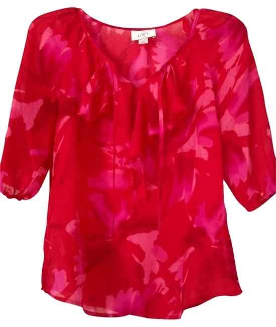 Ann Taylor LOFT Floral Top Red/Pink