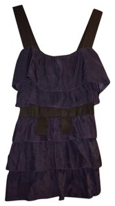 Bordeaux Los Angeles Anthropologie Ruffle Navy Ribbon Tank Nwt New Top
