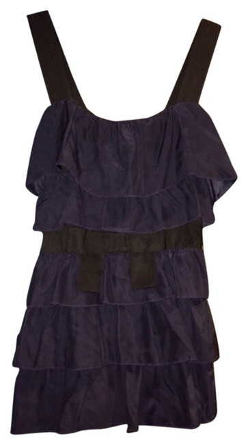 Bordeaux Anthropologie Ruffle Navy Ribbon New Top