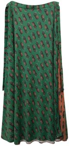 Adriana Degreas Pineapple Wrap Size 2 Maxi Skirt Green