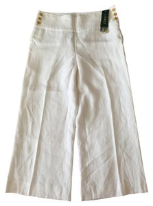 Ralph Lauren Sailor Panama Linen Cruise Wide Leg Pants White