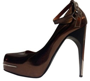 Lanvin Patent Leather Metallic Hardware Bronze Pumps