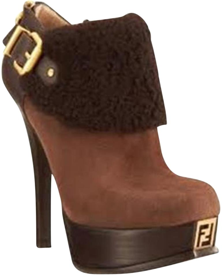 acbb1128 Fendi Brown Fendista Shearling Fur Suede Buckled Platform Ankle  Boots/Booties Size EU 41 (Approx. US 11) Regular (M, B) 33% off retail