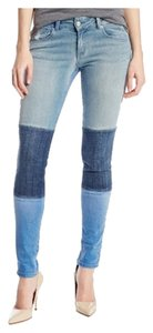 SOLD Design Lab Denim Soho Super Multi-blue Patch Skinny Jeans-Medium Wash