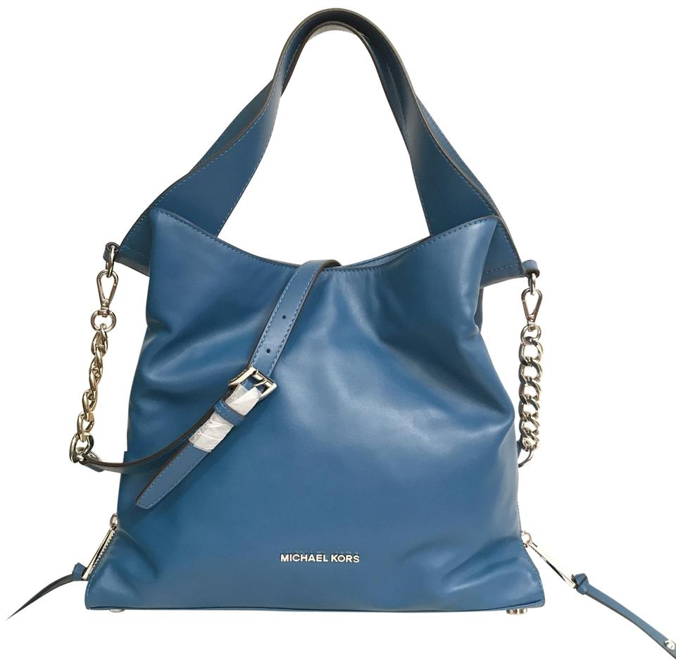 cd75417934aa Michael Kors Purse Handbag Shoulder Hobo Cross Body Tote in Blue Silver  Image 0 ...
