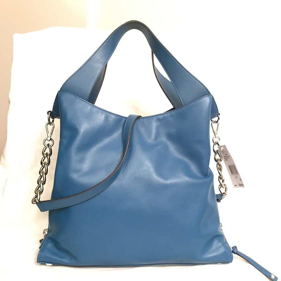 8768a87269fe Michael Kors New Devon Large Blue Silver Leather Tote - Tradesy