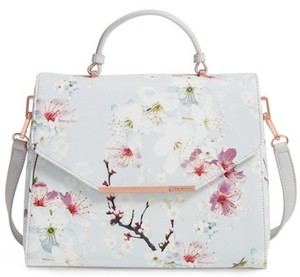 00a0d31213 Ted Baker Oriental Blossom Xhatch Light Grey Faux Leather Satchel ...