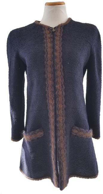 Item - Navy and Brown Boucle Mid-length Jacket Size 8 (M)