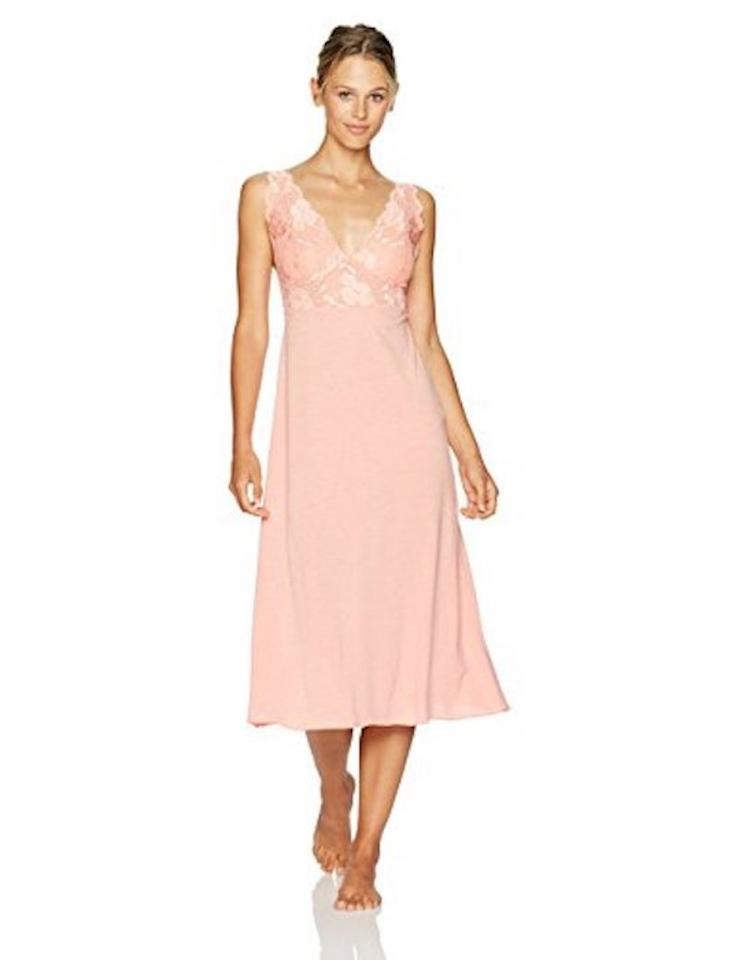 Natori Zen Floral Sleeveless Gown Peach Pink Coral L New Long Casual ...