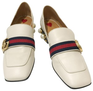 eea2ed8774ab Gucci White Peyton Faux-pearl Leather Mid-heel Loafer Mules Slides ...