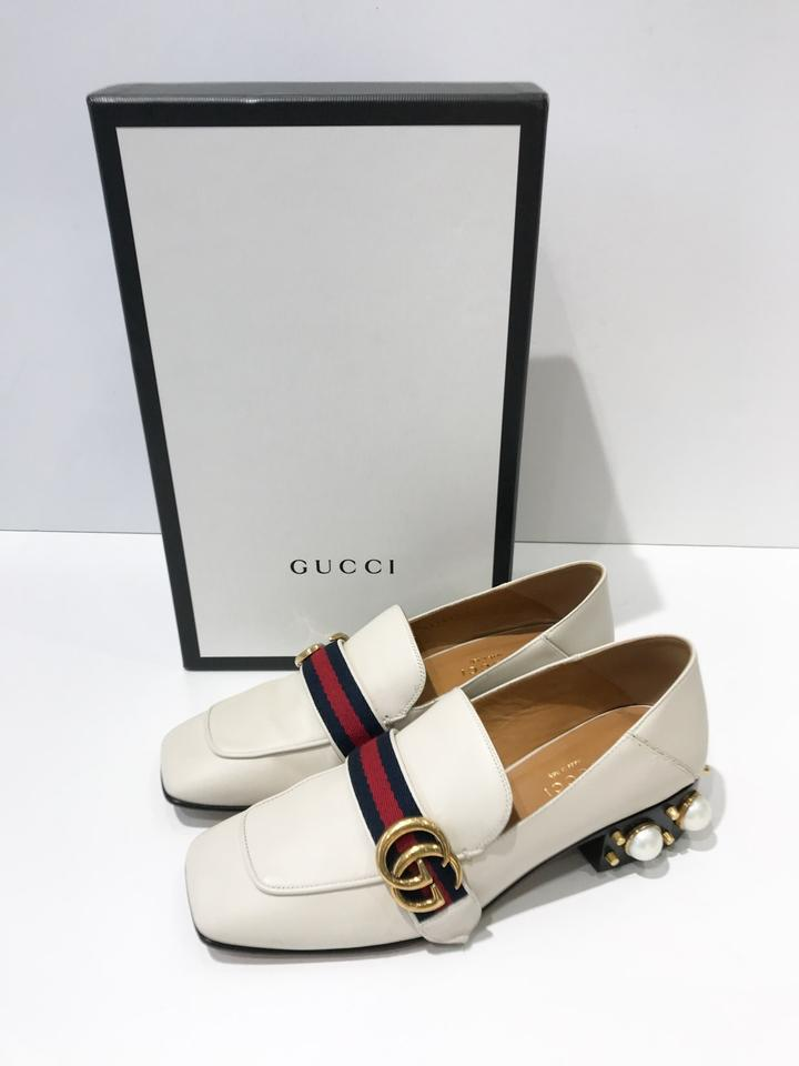 d549e5f9785 Gucci White Peyton Faux-pearl Leather Mid-heel Loafer Mules Slides ...