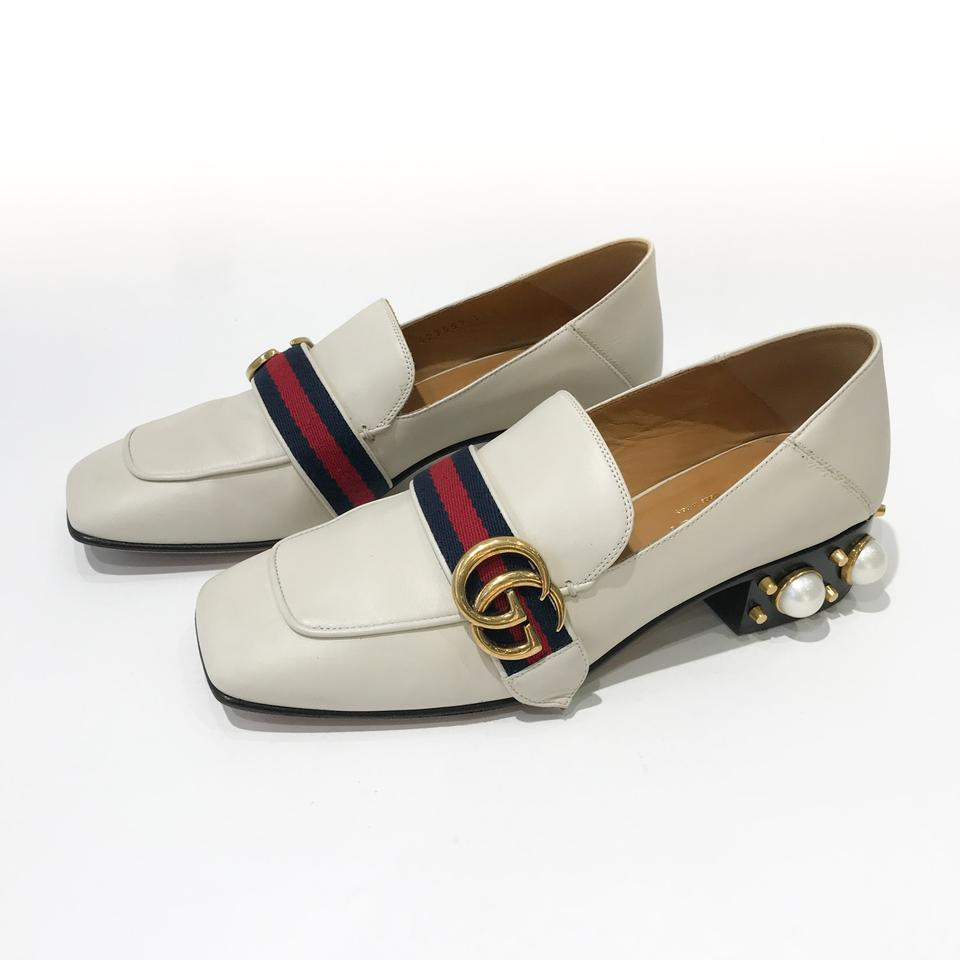 eb4c01005 Gucci White Peyton Faux-pearl Leather Mid-heel Loafer Mules/Slides ...