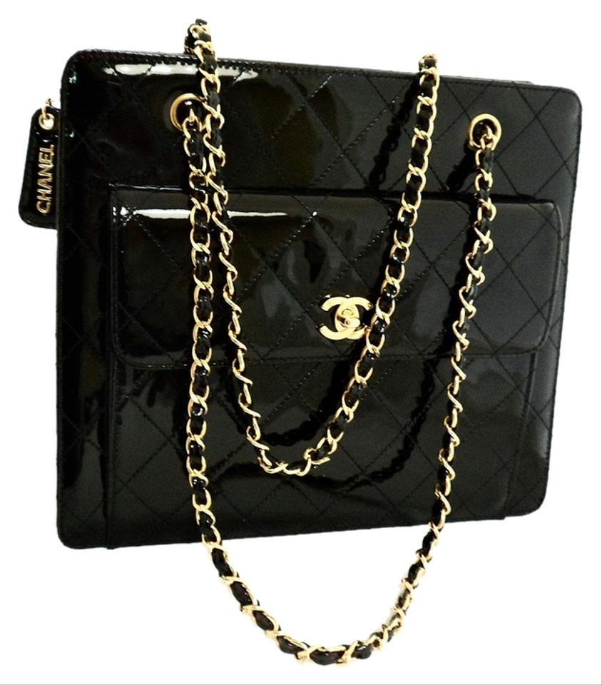 Chanel 2.55 Reissue Vintage Shoulder Quilted Chain Black Patent ... : black quilted chain bag - Adamdwight.com