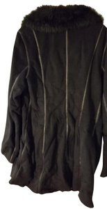 Anne Klein Faux Trench Suede Fur Coat