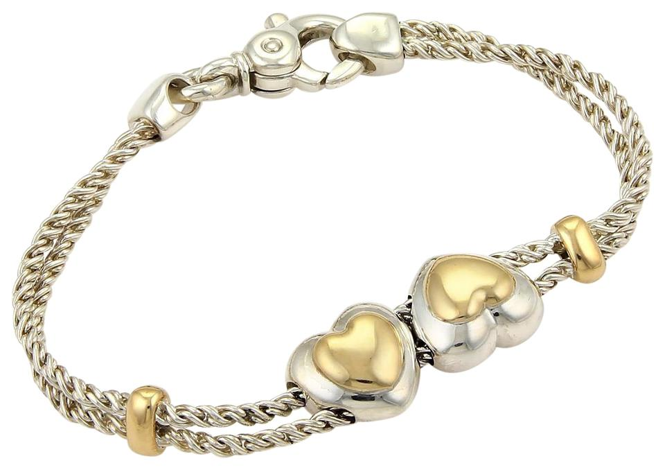 65990ce77 Tiffany & Co. Sterling 18k YGold Double Hearts Charms Rope Chain Bracelet  Image 0 ...