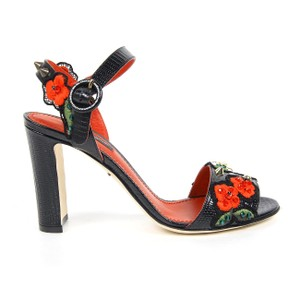 Dolce&Gabbana Italian Leather Pebbled Embroidered Gold Hardware Black/Red Sandals