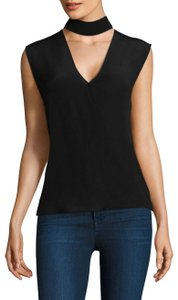 Bailey 44 Silk Cut-out V-neck Sleeveless Luxury Top Black