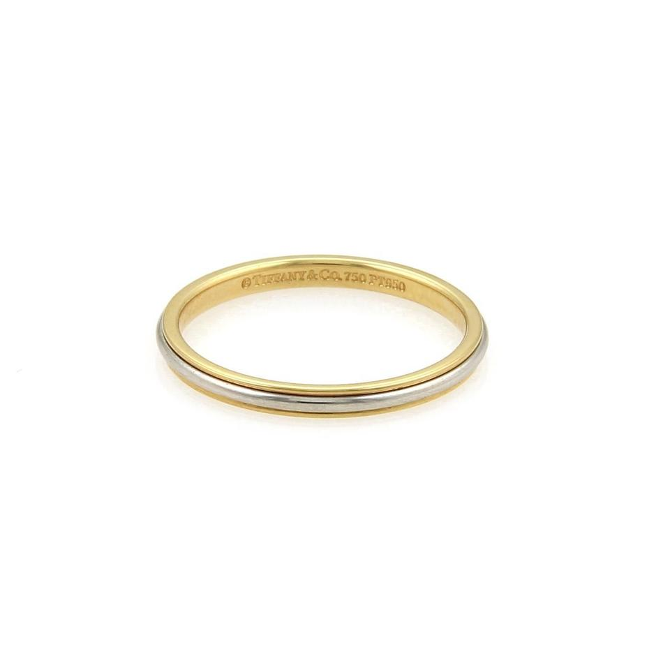 Tiffany Co Platinum 18k Yellow Gold 2mm Wide Dome Band Size 7