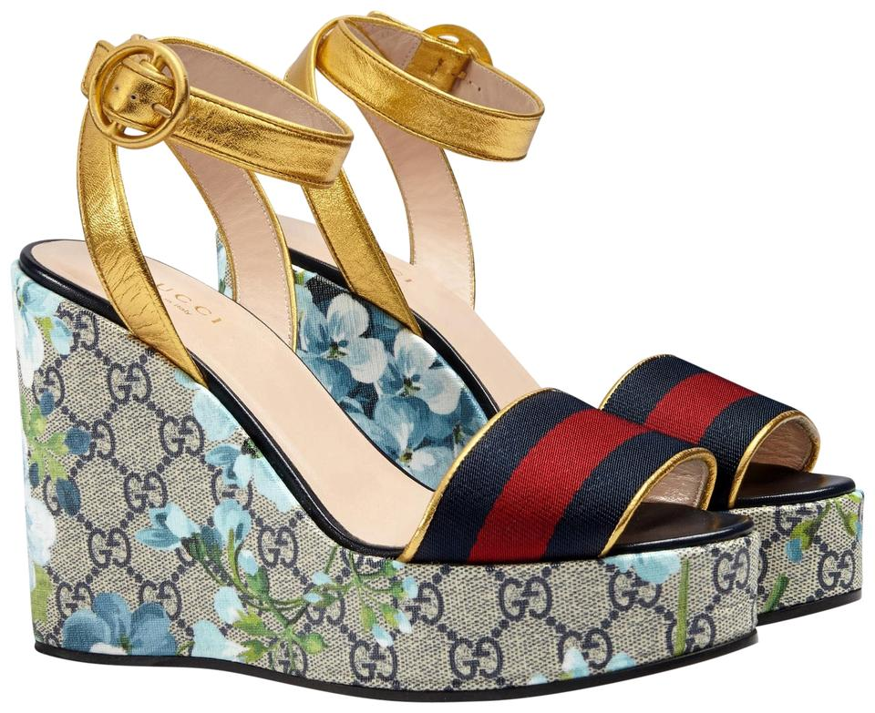63f08889fcd9 Gucci Blue Gg Blooms Platform Wedge Sandals Size EU 35 (Approx. US 5 ...