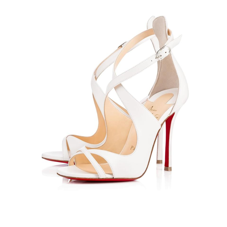 the latest d7bfc 14ca3 Christian Louboutin Leather Malefissima 100 White Sandals Size EU 40  (Approx. US 10) Regular (M, B) 24% off retail