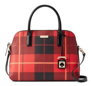 Kate Spade Brightwater Drive Rachelle Maise Woodland Plaid Crosshatched Leather Satchel in Cherry Liqueur
