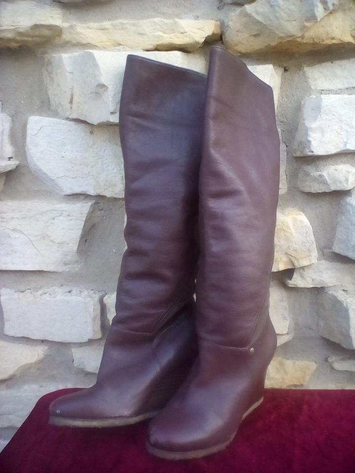 5badd592be12 UGG Australia Price Drop Leather Ravenna Cuffable Knee High Shearling Fur  Line Boots Wedges