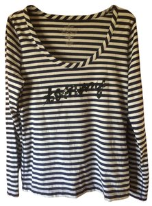 Tommy Hilfiger Striped Sequin T Shirt Navy and White