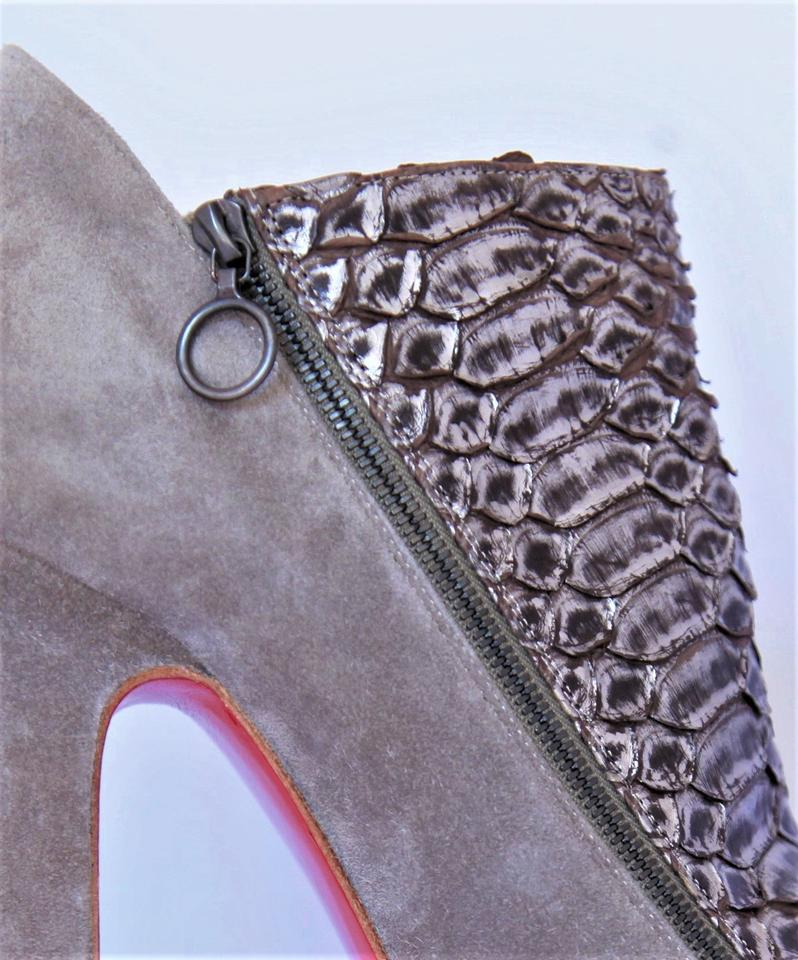 Red Fashion Christian Boots Gray 4a Heel Booties Ankle Bronze 38 suede It Platform High Python Louboutin Sole Lady SqCOBp